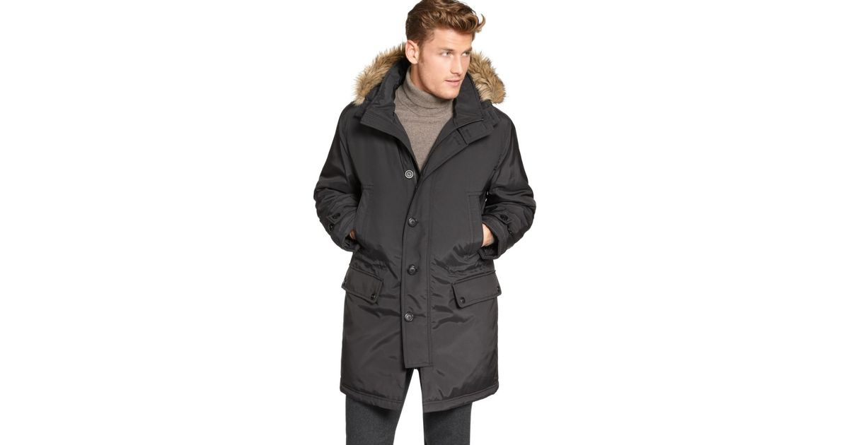 3f456c50789 Michael Kors Brown Mckinley Snorkel Parka with Faux Fur Hood for men