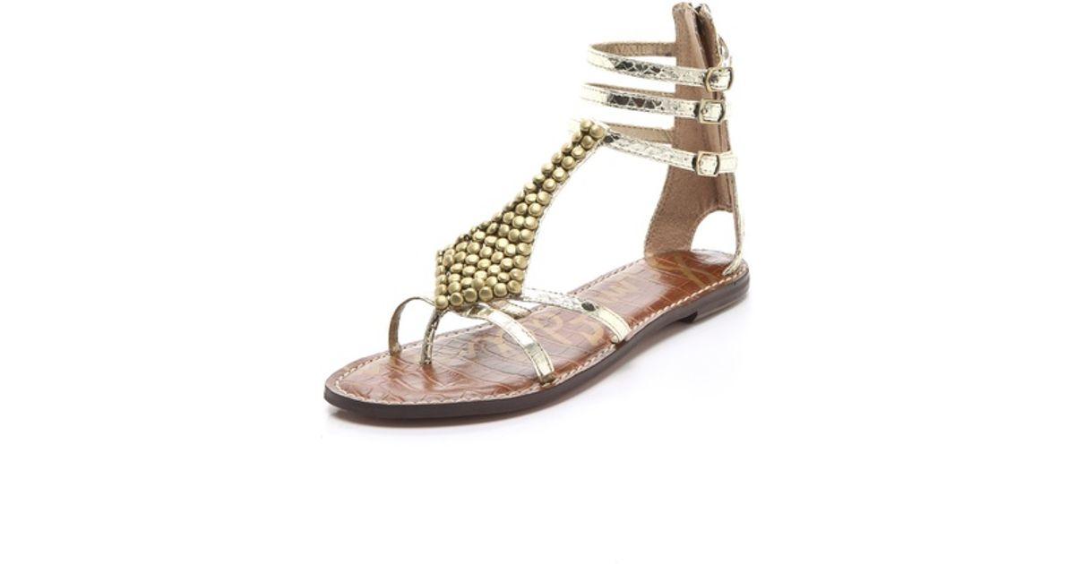 69966ae19c4a1 Lyst - Sam Edelman Ginger Studded Gladiator Sandals in Metallic
