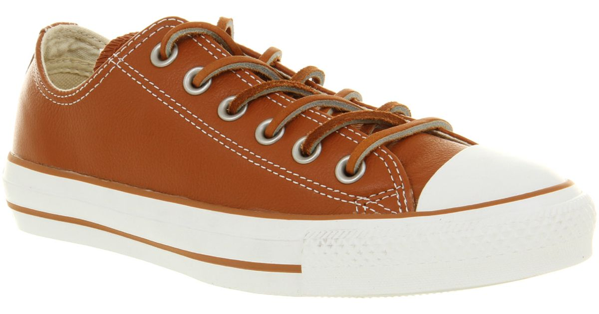 Lyst - Converse All Star Leather Ox Low Tanbrown Smu in Brown for Men f8f63690ba