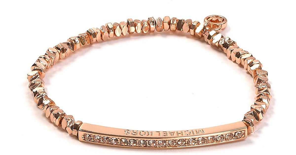 jewelry bangles bangle pave kors rose michael product beaded bracelets in lyst pink pav bar gold bracelet