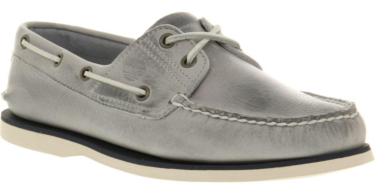 Timberland Grey Leather Deck Shoes