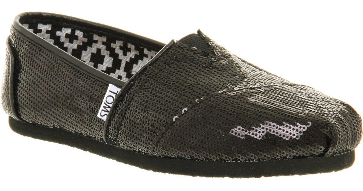 ace143500641 TOMS Seasonal Classic Slip On Black Sequin in Black - Lyst