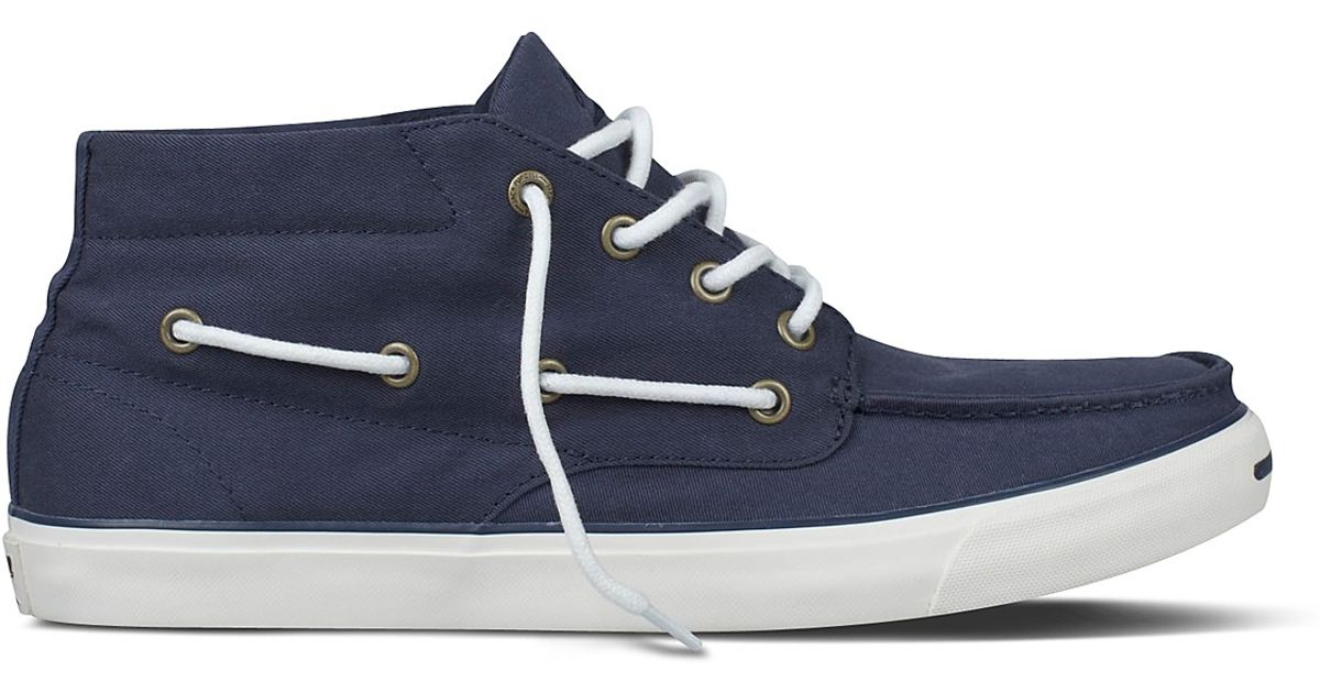 Lyst - Converse Jack Purcell Mid Rise Boat Shoes in Blue for Men d73b1df5f7bf