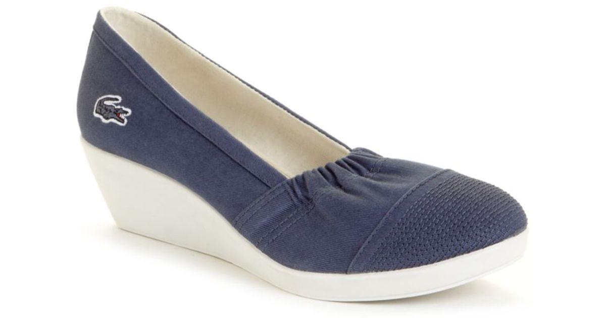 ef9d51c06f3e Lyst - Lacoste Arlesia Wedge Sneakers in Blue
