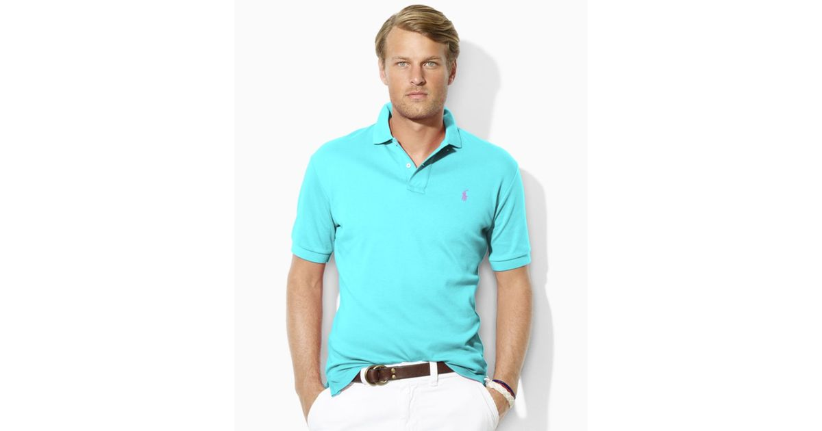 24b79fd94b22 Lyst - Ralph Lauren Custom Fit Interlock Polo Shirt in Blue for Men