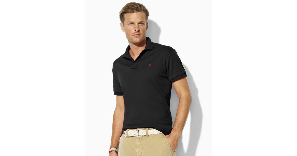 49eff2dd4e2a Lyst - Ralph Lauren Core Custom Fit Interlock Polo Shirt in Black for Men