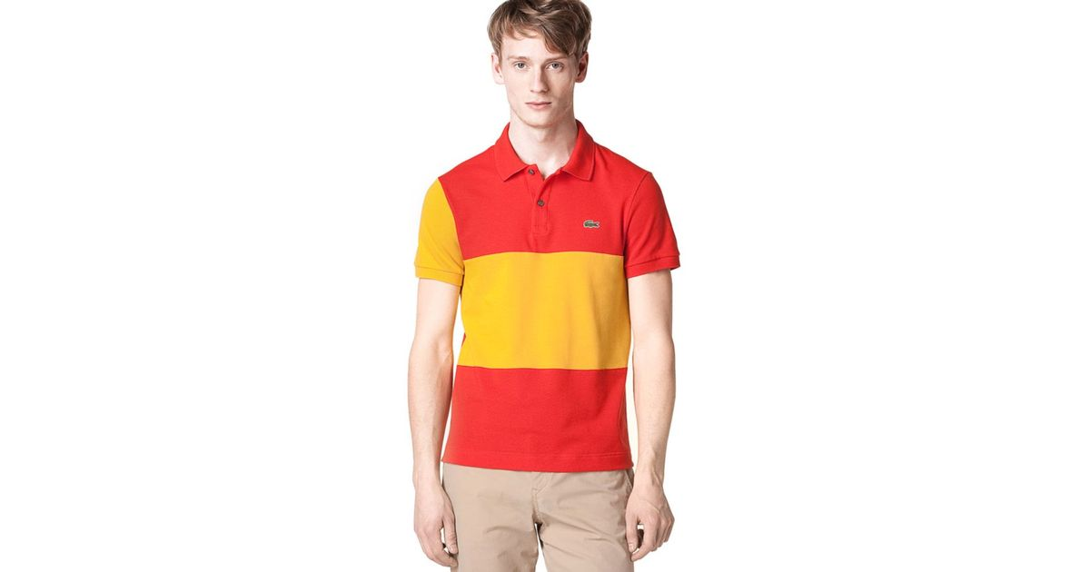 Spain Pique Men Shirt Flag Red Polo For Lacoste O80Pknw