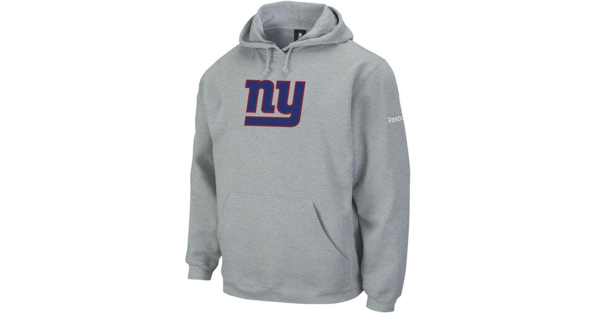 timeless design 375d0 10a57 Reebok Gray New York Giants Playbook Fleece Hoodie for men