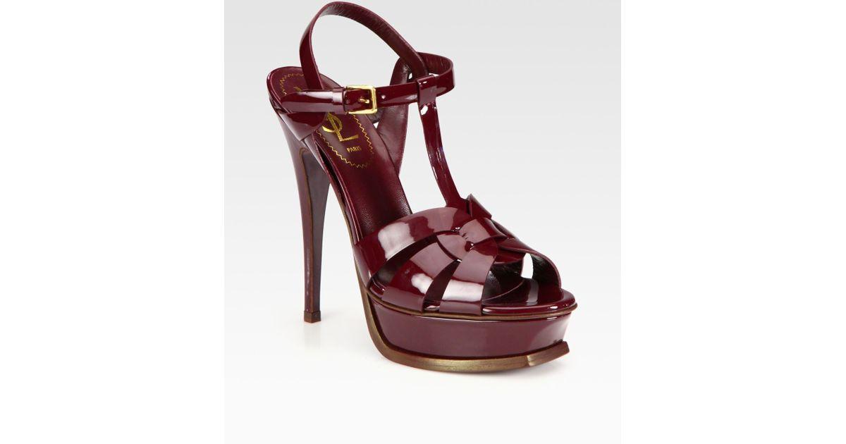 6905a0e512 Saint Laurent Red Ysl Tribute Patent Leather Platform Sandals