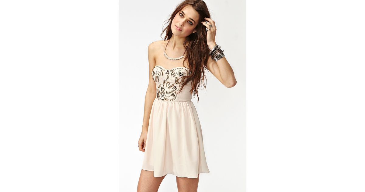 Lyst - Nasty Gal Sweet Studs Dress In Natural-3960