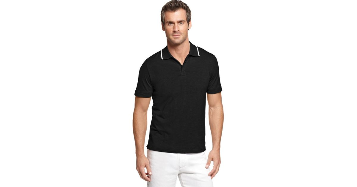 ceaf4774e6 Lyst - Perry Ellis Short Sleeve Tipped Polo Shirt in Black for Men
