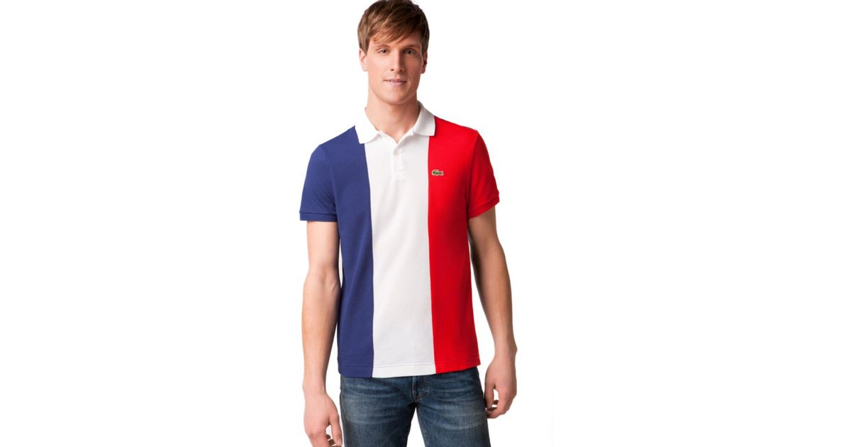 d5c8bb501bd Lyst - Lacoste France Flag Pique Polo Shirt for Men