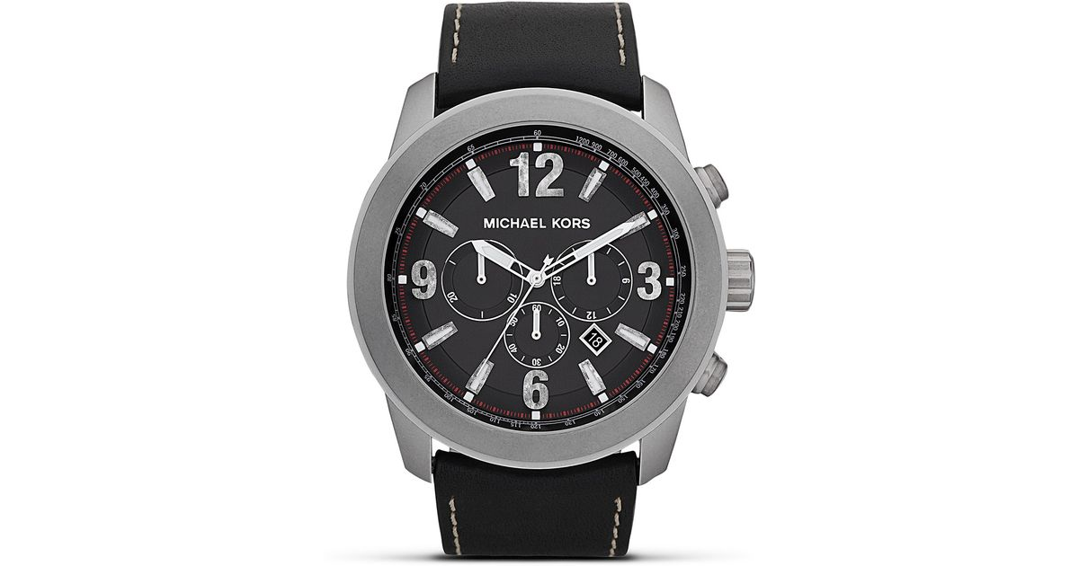 19ef24581f38 Lyst - Michael Kors Michael Mens Matte Silver Runway Watch 51mm in Black  for Men