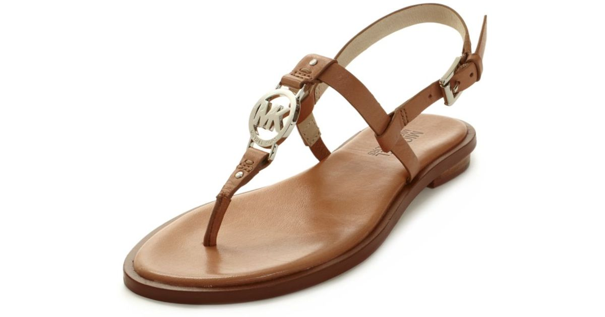 3c16efb38ca Lyst - Michael Kors Sondra Flat Sandals in Brown