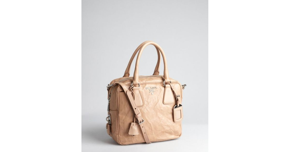 ... free shipping lyst prada cameo leather convertible top handle bowler  tote in natural e8e02 1b546 00918537c74b0