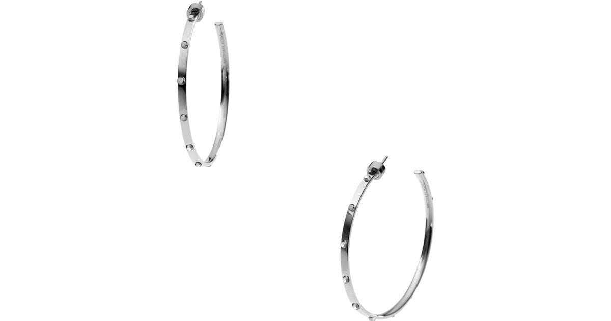56defd13abcdd Michael Kors Metallic Astor Large Stud Hoop Earrings