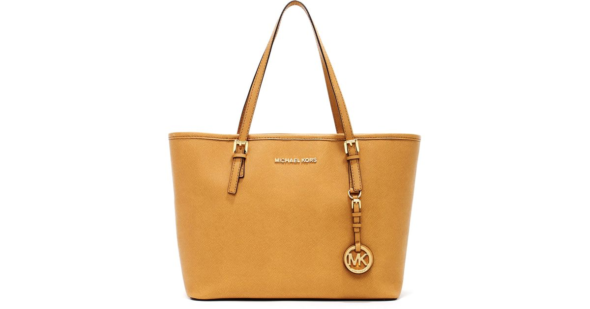 5e848fce1a ... norway lyst michael michael kors jet set small travel tote tan in brown  769b8 05aec