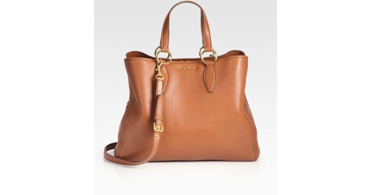 Miu Miu Vitello Caribou Top Handle Bag