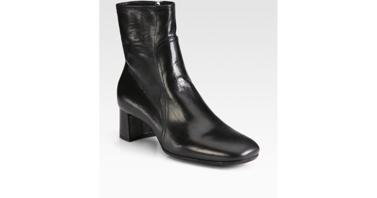 Lyst - Prada Leather Block Heel Ankle Boots in Black b80d5144f33d