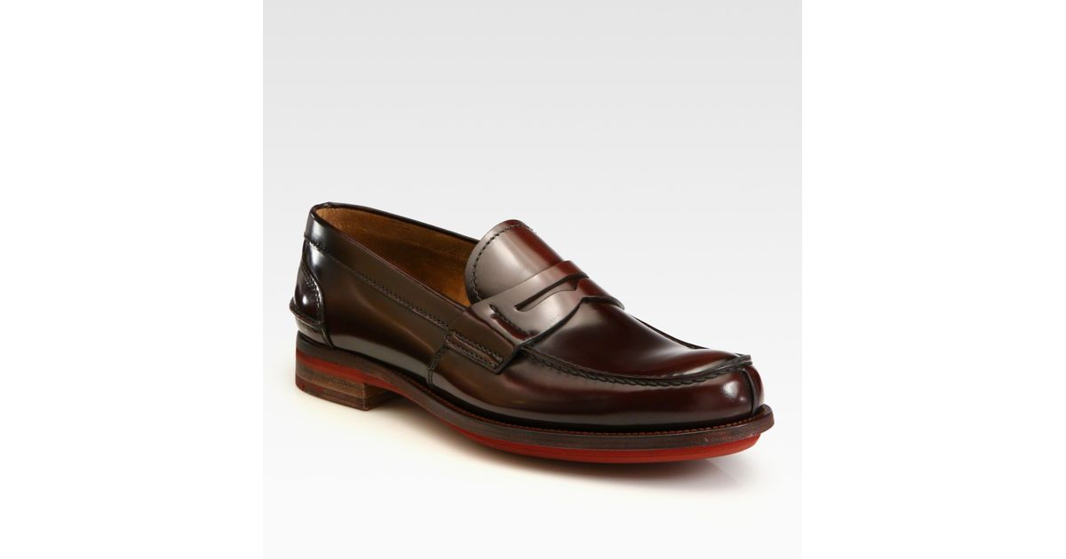 4056640f46d Lyst - Prada Spazzolato Penny Loafers in Brown for Men