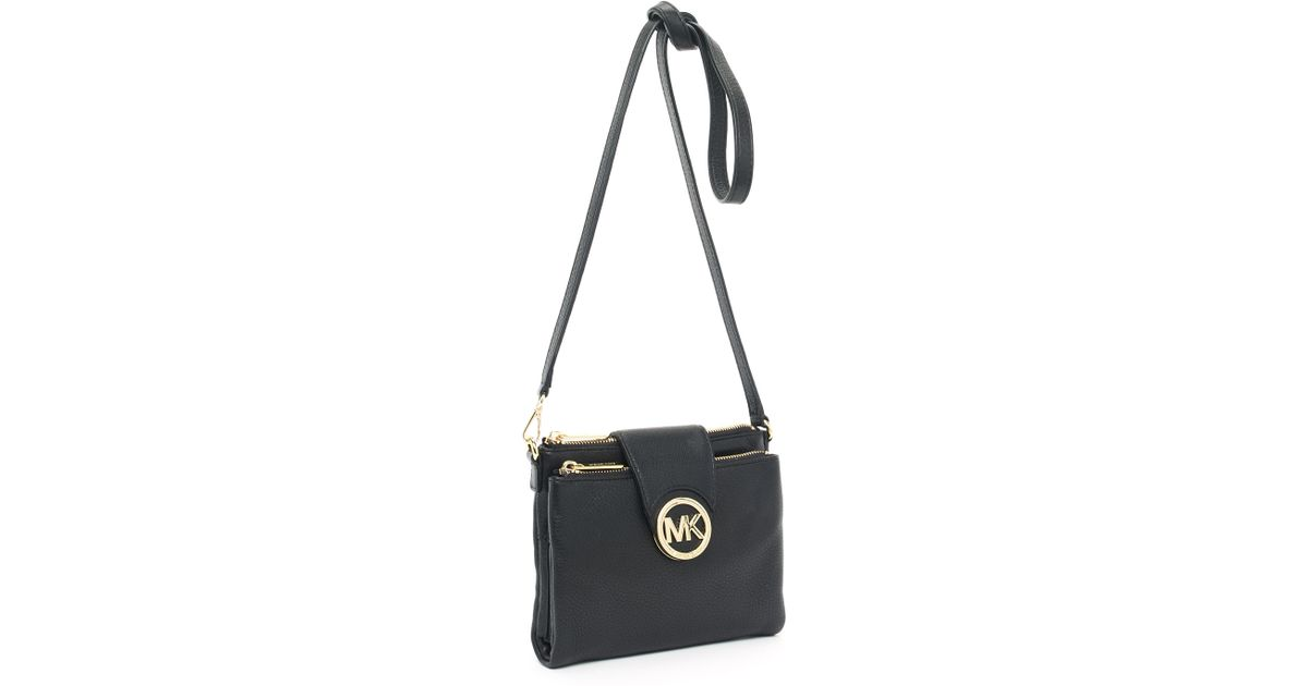 c14359f035f7 ... usa lyst michael michael kors fulton leather cross body bag in black  9a2c0 bc9cb ...
