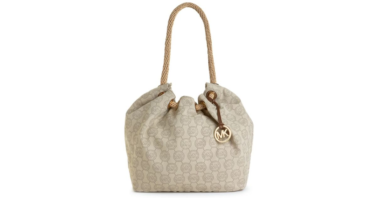 4265b4968794 Lyst - Michael Kors Marina Large Canvas Shoulder Tote in Brown
