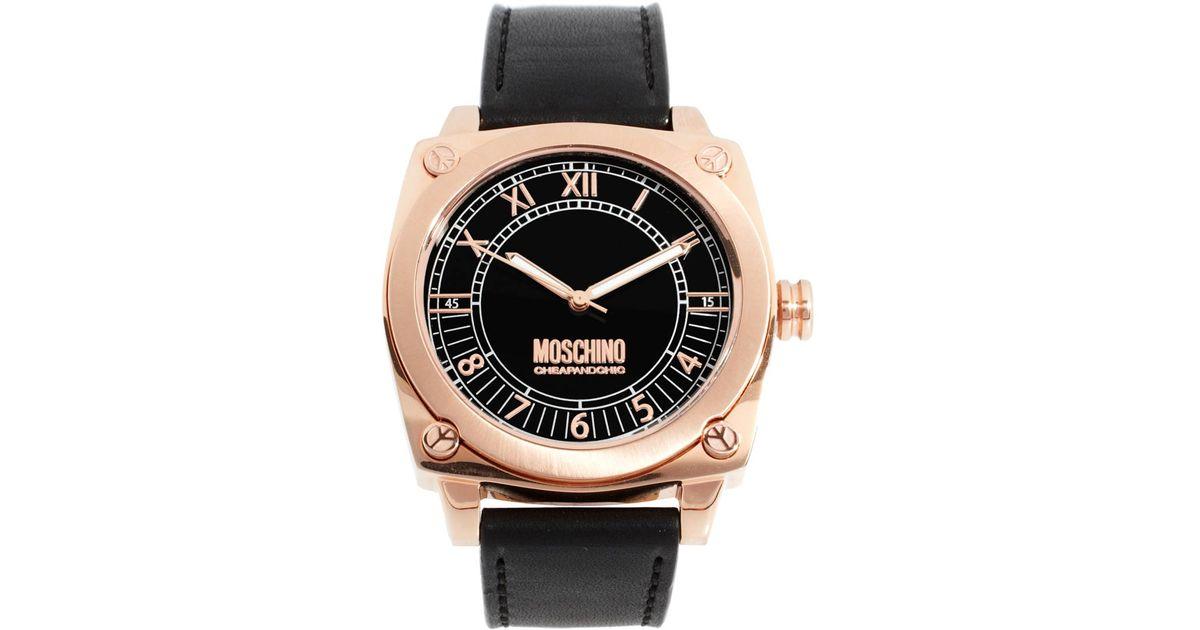moschino moschino mens black leather strap watch in black for men moschino moschino mens black leather strap watch in black for men lyst