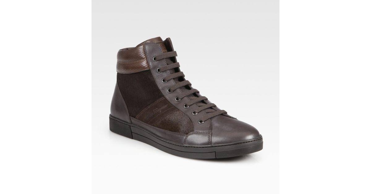 Sneaker calfskin lamb fur lambskin Decorative buckle black brown Attilio Giusti Leombruni Gg8vk5