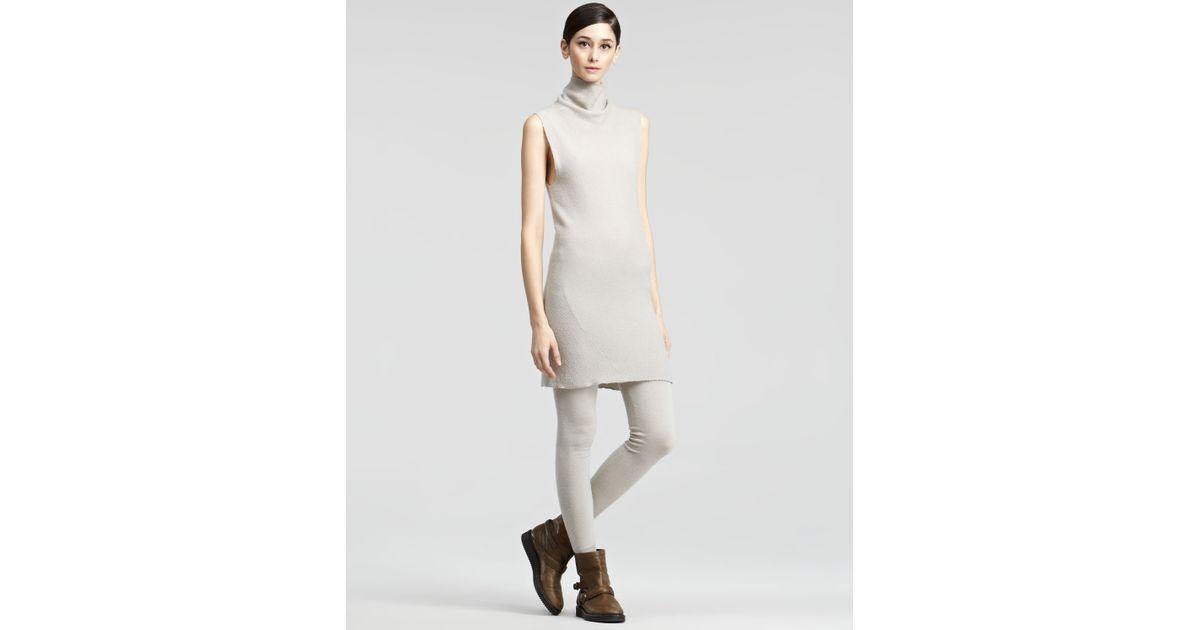 41ecbe9eba914 Lyst - Donna Karan Sleeveless Turtleneck Dress in Natural