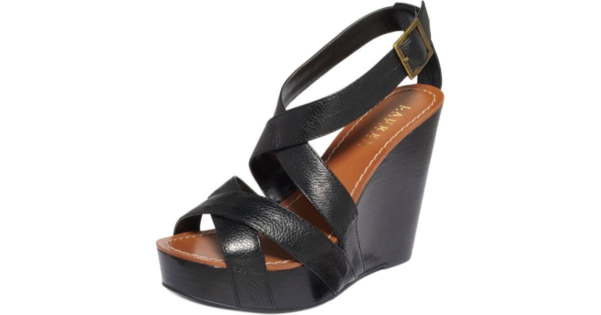 2ed3e45cd3a Lauren by Ralph Lauren Black Dawn Platform Wedge Sandals