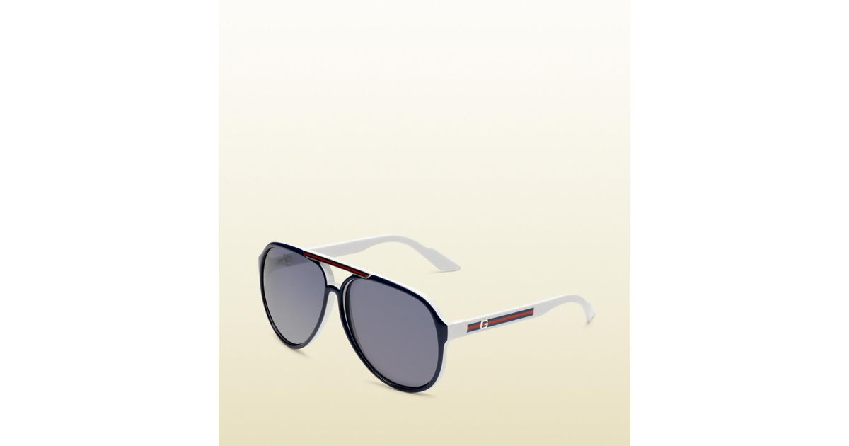 a10bcf7760e Lyst - Gucci Medium Aviator Sunglasses With G Detail And Signature Web On Temple  in Blue for Men