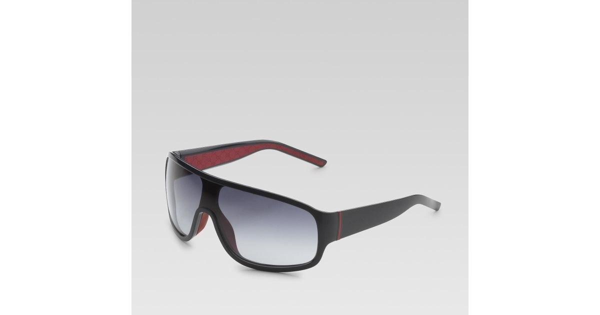 066ae490916 Lyst - Gucci Medium Rectangle Mask Sunglasses with Gucci Logo and Web  Detail On Temples in Blue for Men