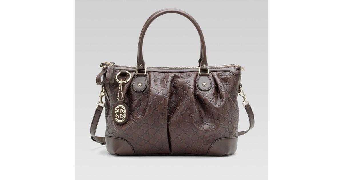 c9a407658e3e Gucci Sukey Dark Brown Guccissima Leather Top Handle Bag in Brown - Lyst