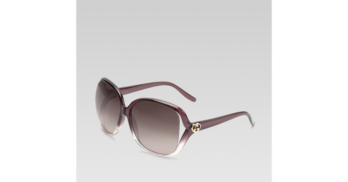 1b20f242da Gucci Purple Medium Square Frame Sunglasses With Heart-shaped Interlocking  G Logo