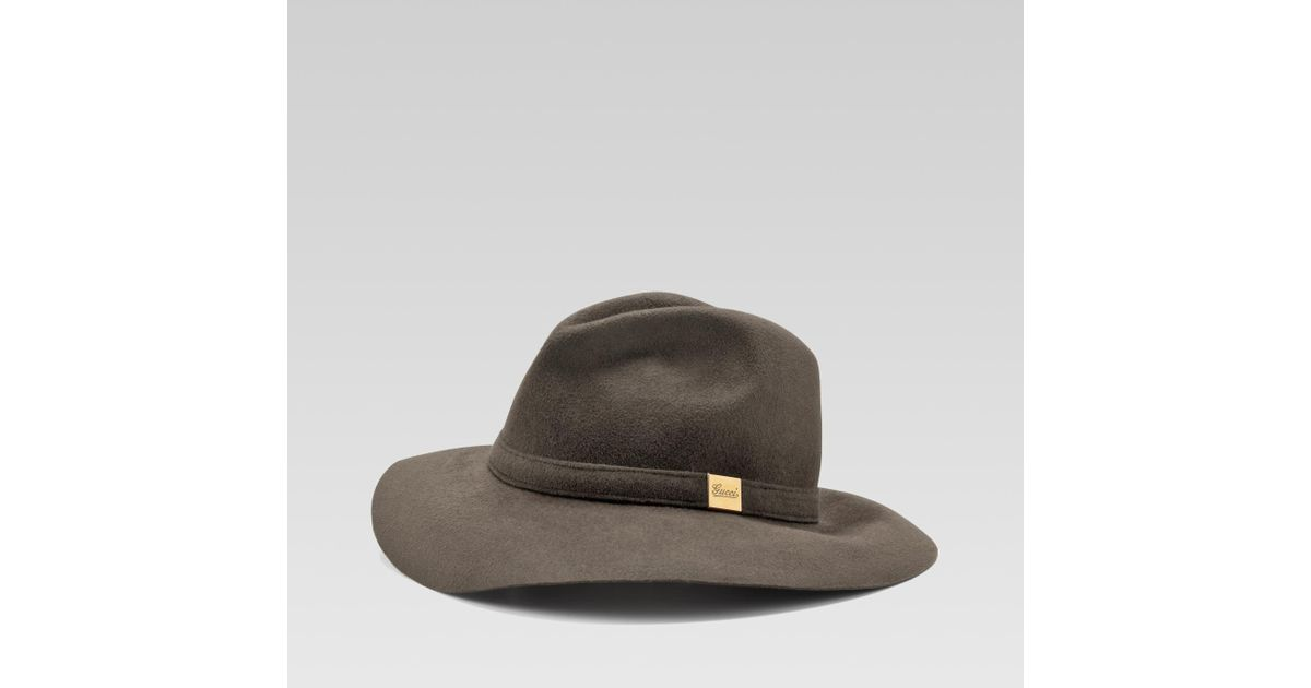 d7d21dce527c2 Lyst - Gucci Trilby Hat with Engraved Gucci Script Logo in Gray