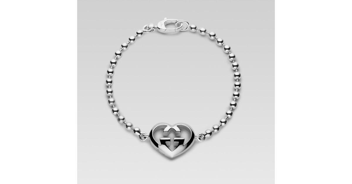 ed451f17e Gucci Bracelet With Heart-shaped Interlocking G Charm in Metallic - Lyst
