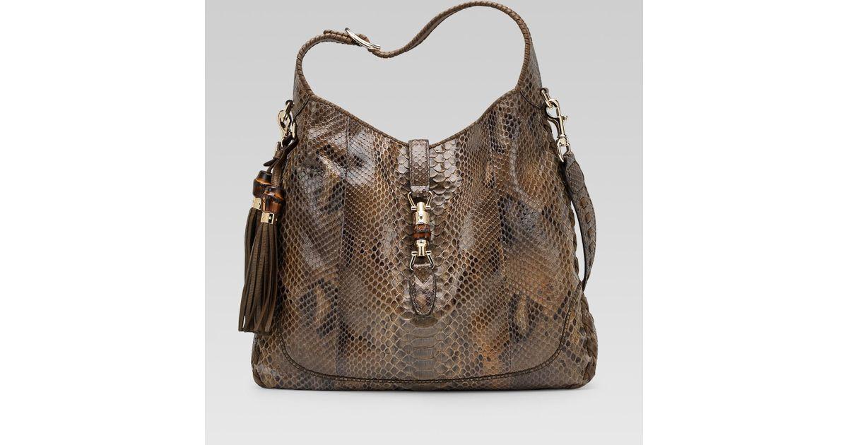 3fb23df0aff30 Lyst Gucci New Jackie Smog Python Shoulder Bag In Brown