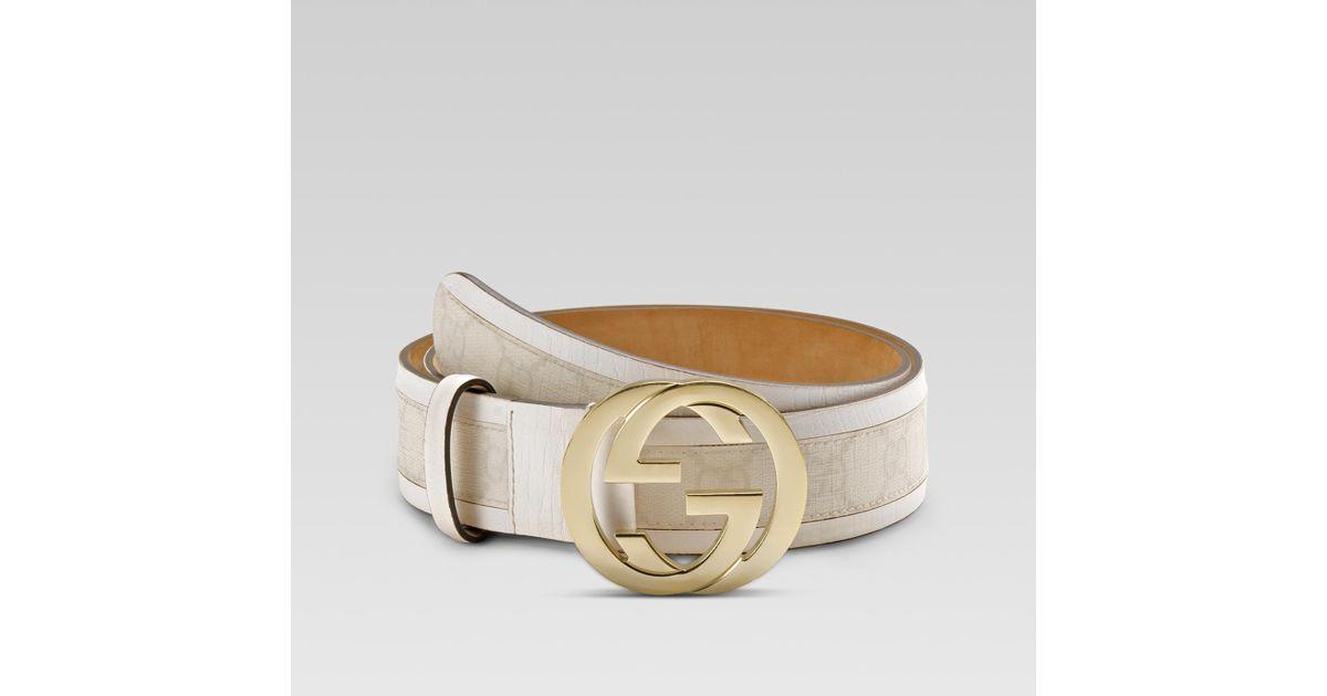 Gucci White Belt with Interlocking G Buckle for men