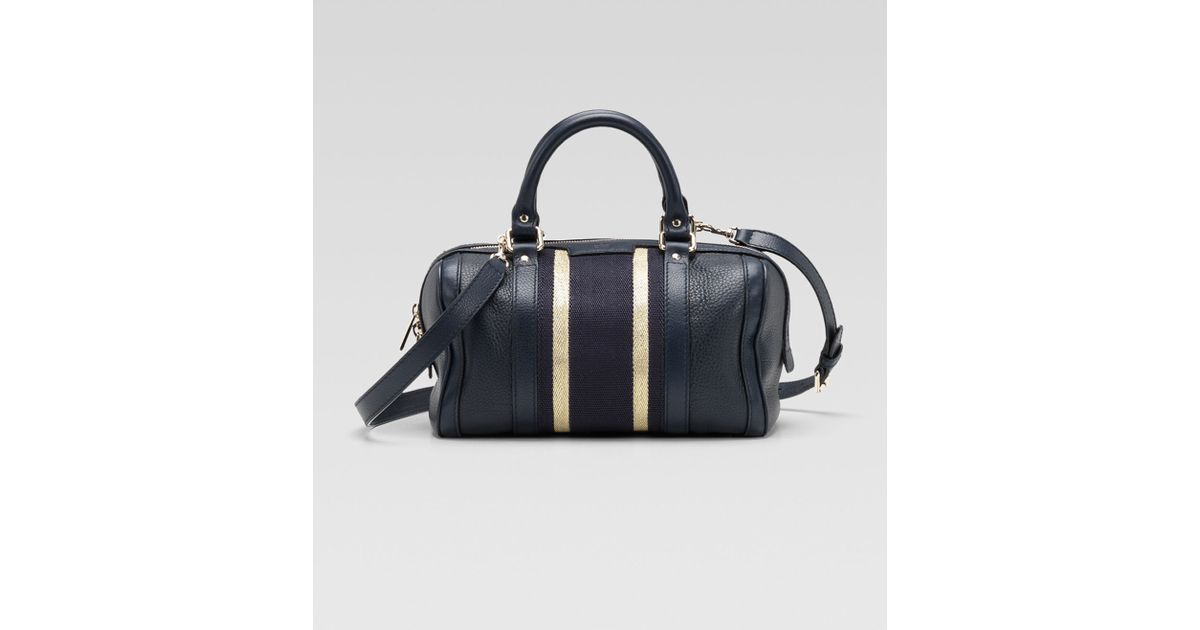 bfebdb99354a Gucci Vintage Web Small Boston Bag in Blue - Lyst