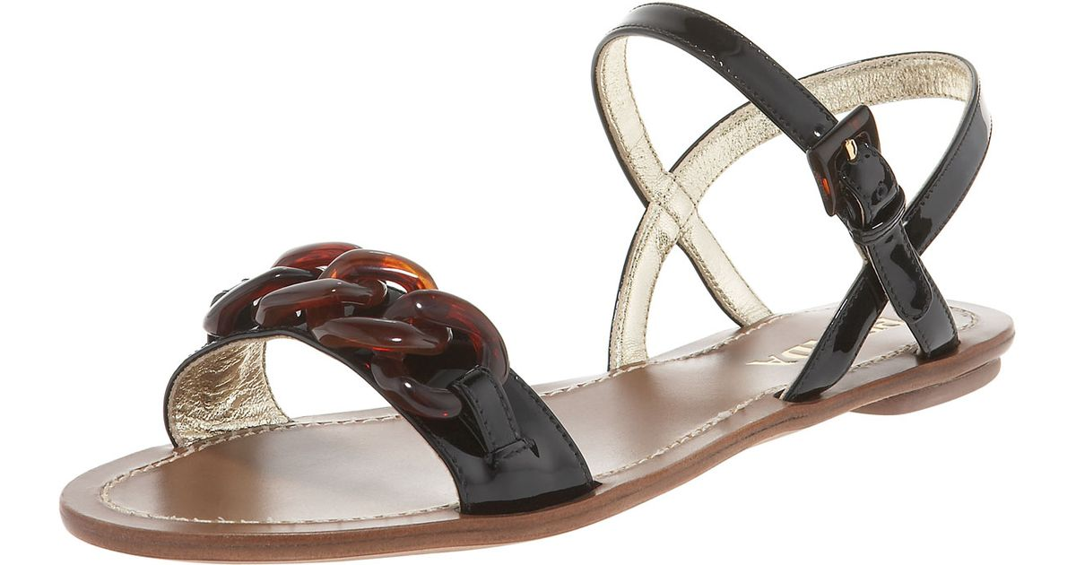c90622d2a6d2 Lyst - Prada Chain Link Patent Leather Flat Sandal in Natural