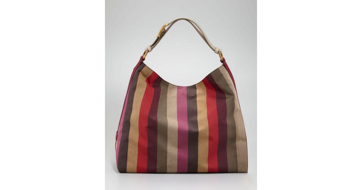 4d0d4aa39a Lyst - Fendi Pequin Striped Hobo
