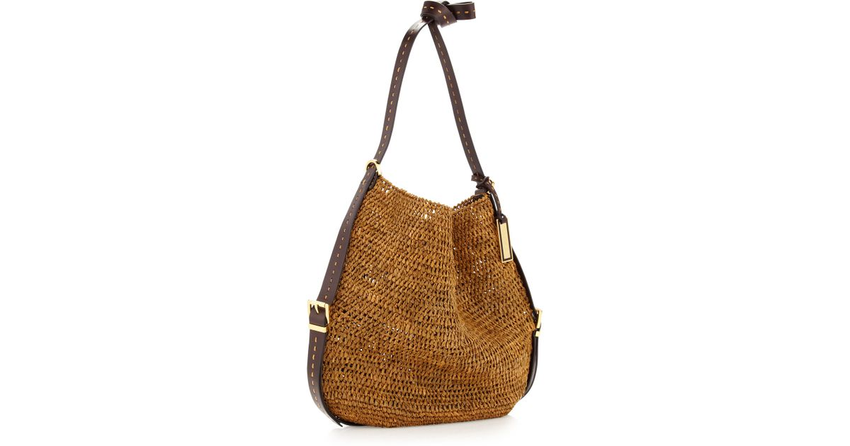 7b228ca89068 ... wholesale spain lyst michael kors santorini raffia crossbody bag in  brown 852a4 a9de6 942a6 7a30d
