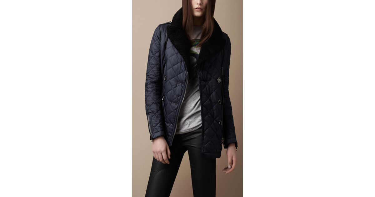 Burberry brit Shearling Collar Quilted Pea Coat in Blue | Lyst : quilted pea coat - Adamdwight.com