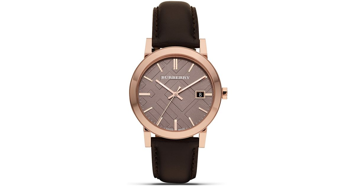 627265510e17 Lyst - Burberry Leather Watch With Check Face