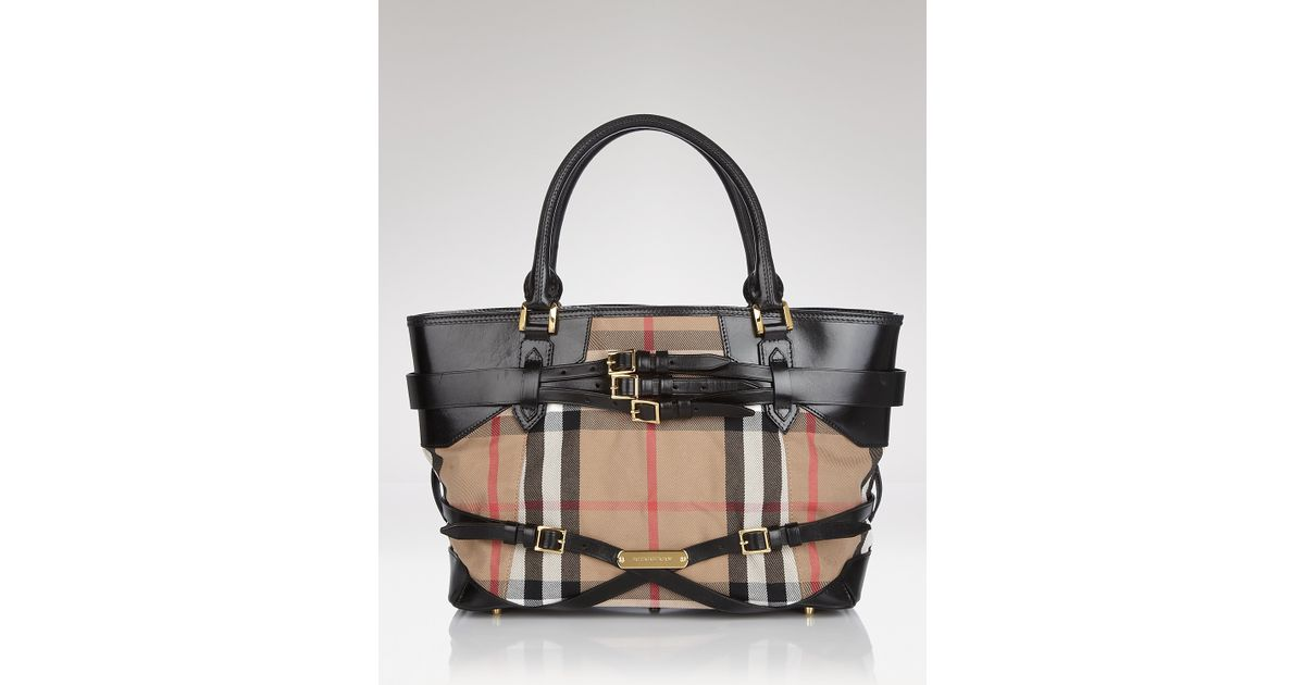76d3f31dbac Lyst - Burberry Tote Bridle House Check Medium Lynher in Black