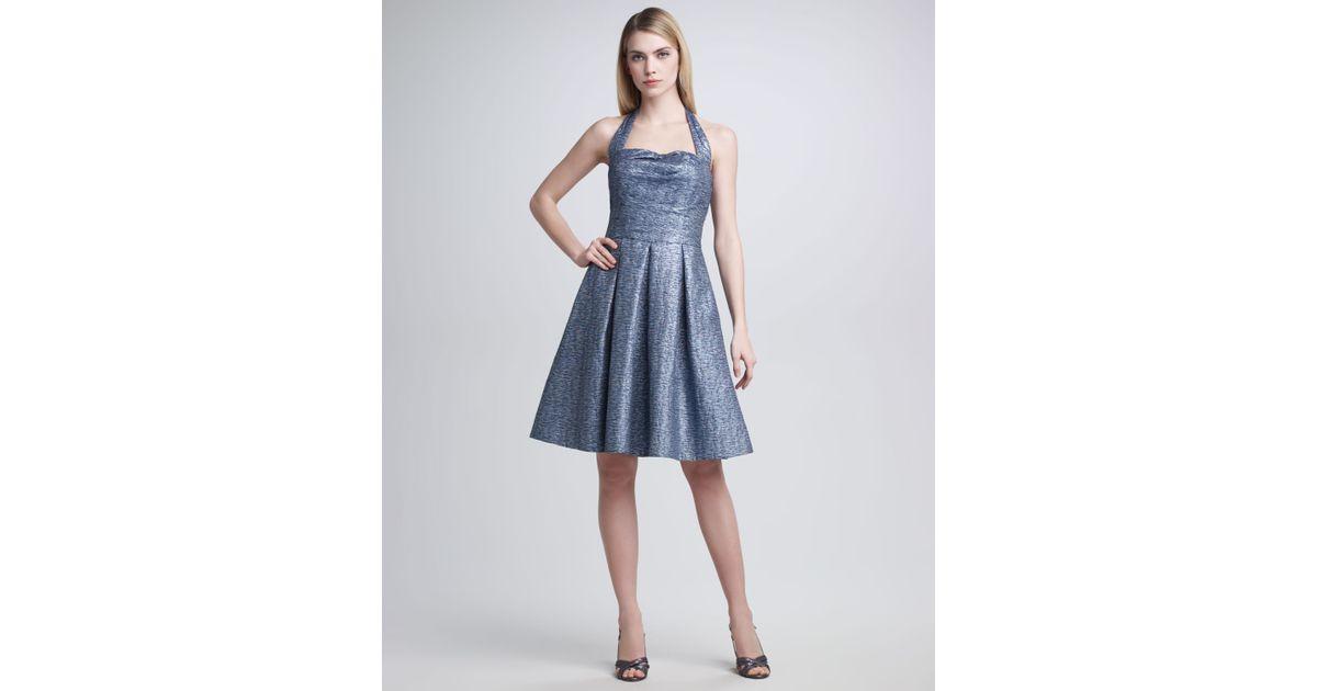 David Meister Halter Top Cocktail Dress In Blue Silver