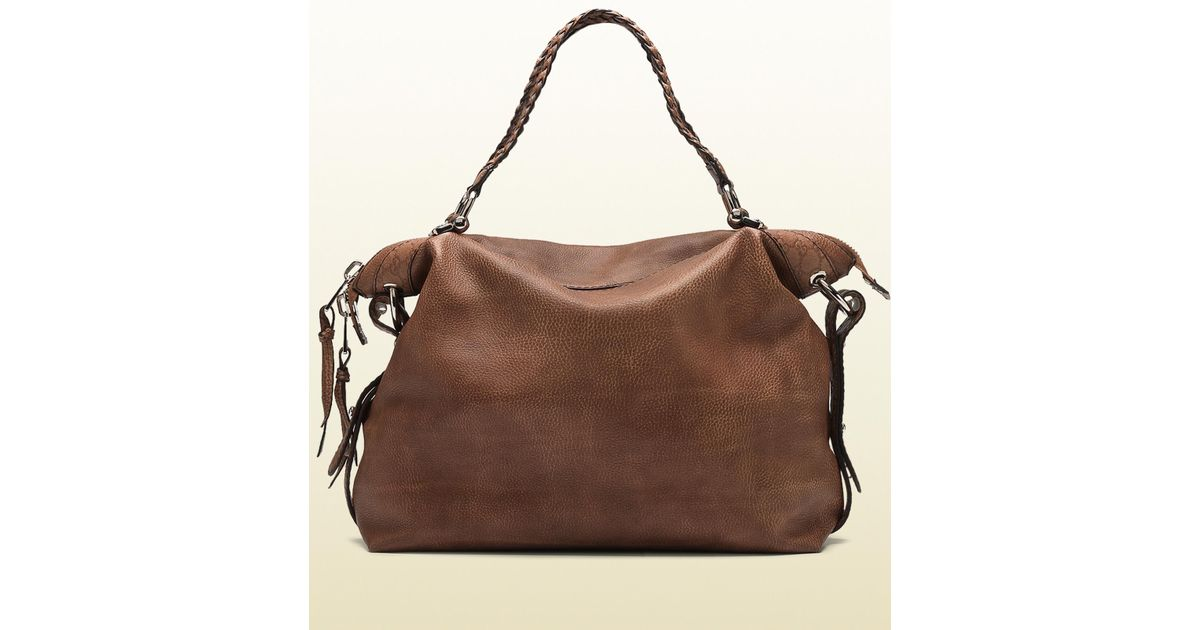 17f9ed875c4ffa Gucci Bamboo Bar Large Shoulder Bag with Tassels and Bamboo Detail in Brown  - Lyst