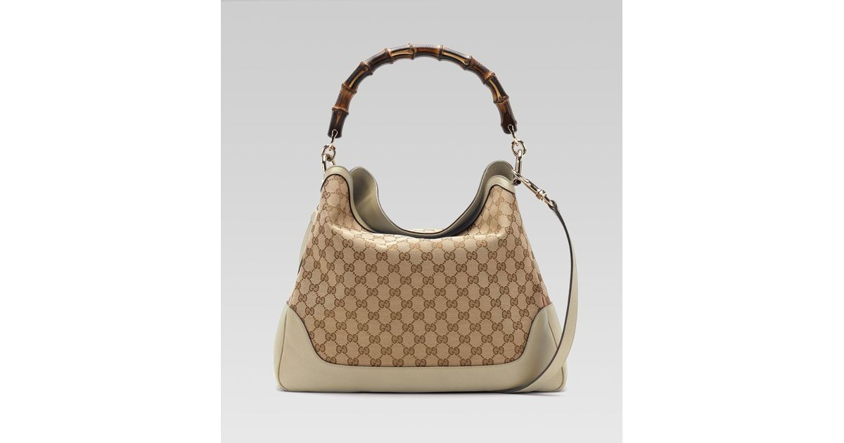 22cd7a082edd8 Gucci Diana Bamboo Handle Shoulder Bag in Natural - Lyst