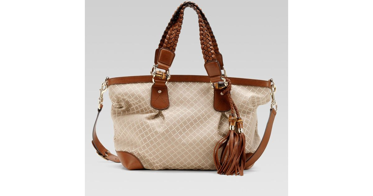 9362146d313b Gucci Eva Large Tote with Woven Leather Tassels and Bamboo Detail in  Natural - Lyst