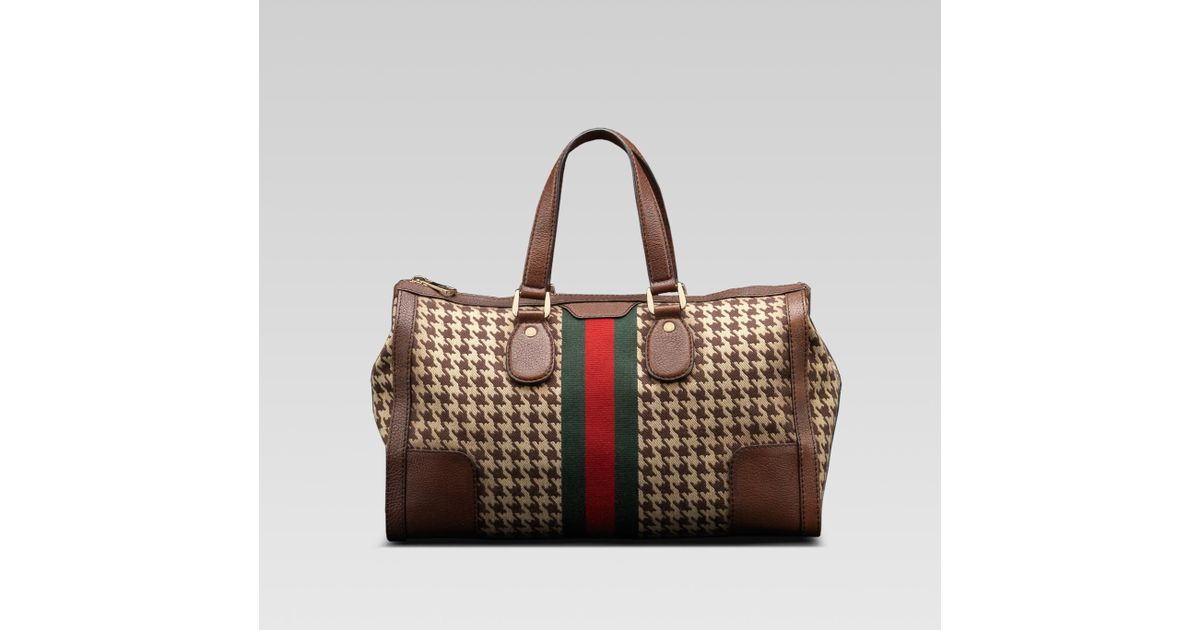 713a61e048d6 Lyst - Gucci Seventies Medium Tote with Signature Web in Brown